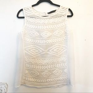 Zara Embroidered Ivory Tank Top